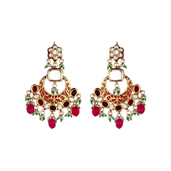Runjhun Jewellery Ruby Maroon Kundan Semi Precious Gold plated Elegant Designer Ethnic Traditional Bollywood Danglers Women Girls