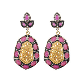 Runjhun Jewellery Ruby AD Victoria Gold plated Elegant Designer Ethnic Traditional Bollywood Dangler Earring Women Girls