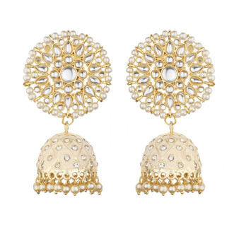 Runjhun Jewellery Gold plated Designer Traditional Pearl and Kundan Beige colour Jhumka/Jhumki Earrings Women & Girls