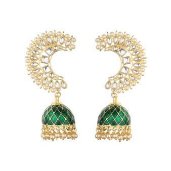 Runjhun Jewellery Traditional Gold plated Designer Pearl and Kundan Jhumka/Jhumki Earrings Women & Girls(Green)