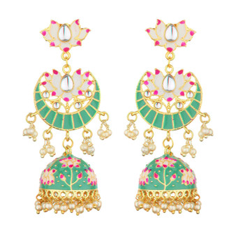 Runjhun Jewellery Traditional Gold plated Designer Pearl and Kundan Jhumka/Jhumki Earrings Women & Girls(Maple Green)