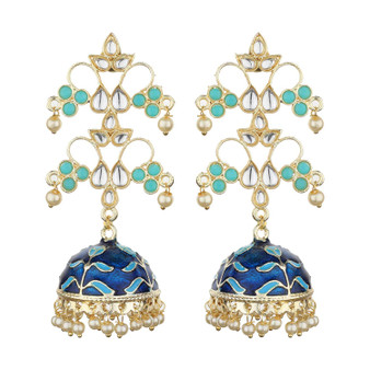 Runjhun Jewellery Traditional Gold plated Designer Pearl and Kundan Jhumka/Jhumki Earrings Women & Girls(Blue)