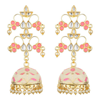 Runjhun Jewellery Traditional Gold plated Designer Pearl and Kundan Jhumka/Jhumki Earrings Women & Girls(Pink)