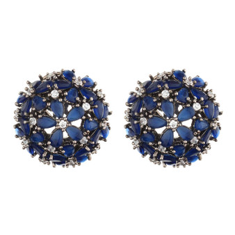Runjhun Jewellery AD Diamond Round Stud Earrings for Women & Girls(Blue)