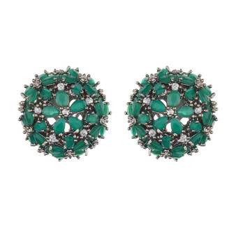 Runjhun Jewellery AD Diamond Round Stud Earrings for Women & Girls(Green)