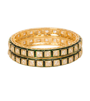Runjhun Jewellery 22-K Gold Plated Kundan Pair of 2 Designer Bangles Bracelet for Women & Girls