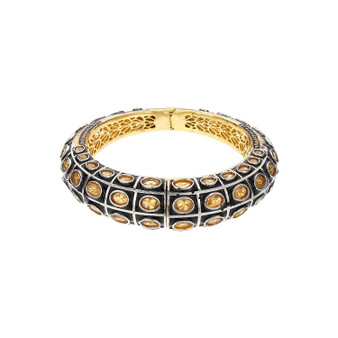 Runjhun Jewellery Golden Side Open AD Victorian Royal Gold Plated Bracelet Kara Women Girls