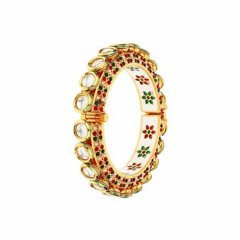 Runjhun Jewellery 22-K Gold Plated Navratna Multicolor Side Open Designer Jaipuri Kada Bracelet for Women & Girls