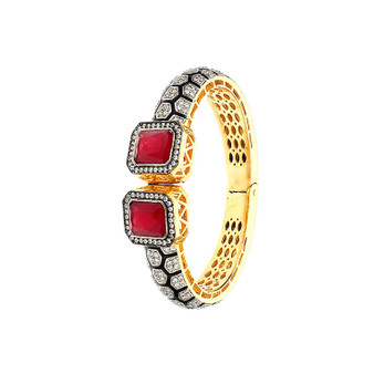 Runjhun Jewellery Ruby Color Side Open AD Victorian Royal 22-Carat Gold Plated Bracelet Kara Women Girls