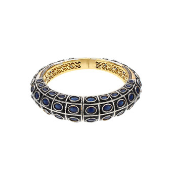 Runjhun Jewellery Royal Blue Side Open AD Victorian Royal Gold Plated Bracelet Kara Women Girls
