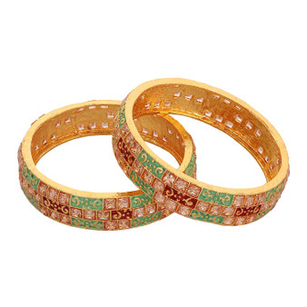 Runjhun Jewellery CZ/AD Studded Gold Plated Traditional Broad American Diamond Set of 2 Kara Bangles for Women/Girls Size 2.6