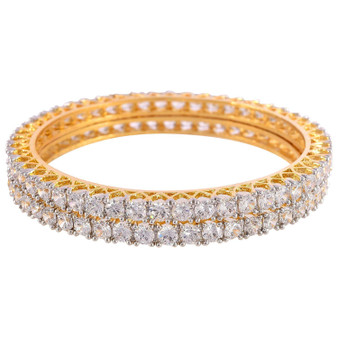 Runjhun Jewellery CZ/AD Studded Gold Plated Traditional American Diamond Set of 2 Bangles for Women/Girls White