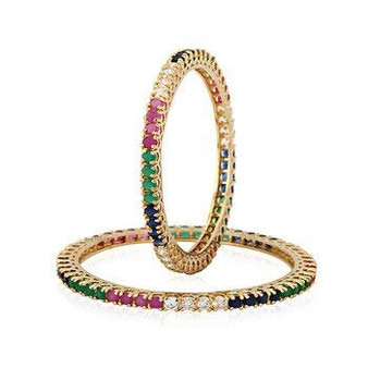 Runjhun Jewellery CZ/AD Studded Gold Plated Traditional Ruby Green Blue American Diamond Set of 2 Bangles for Women/Girls