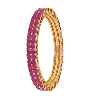 Runjhun Jewellery CZ/AD Studded Gold Plated Traditional Ruby American Diamond Set of 2 Bangles for Women/Girls