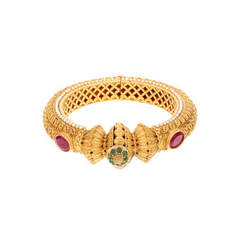 Runjhun Jewellery 22-Carat Side Open Gold Plated Traditional Designer Jaipuri Kada Bangle for Women