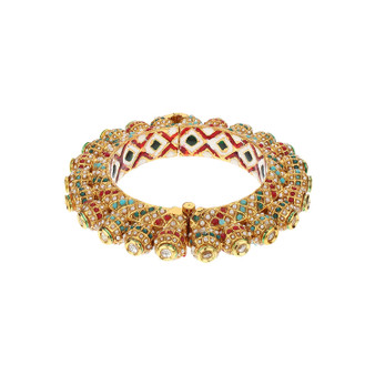 Runjhun Jewellery 22-Carat Side Open Gold Plated Traditional Designer Jaipuri Kada Bangle
