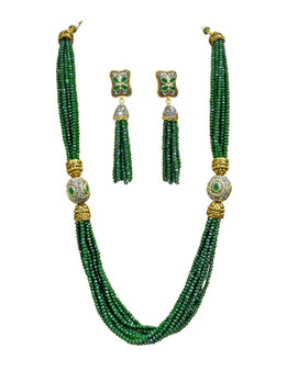 Runjhun Jewellery Green Emerald 22-Carat Gold Plated Handmade Traditional Beads Layered Necklace Set For Women and Girls