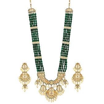 Runjhun Jewellery Onex and Kundan Handmade Green Beads Ethnic Traditional Necklace Set for Women