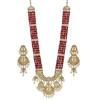 Runjhun Jewellery Designer Handmade Ruby Kundan Golden Beads Royal Designer Ethnic Traditional Necklace for Women Girls