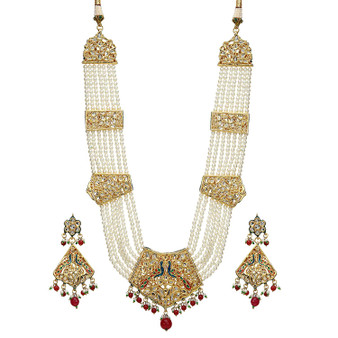 Runjhun Jewellery Golden Beads Jadau Designer Meenakari Rani Haar Necklace for Women
