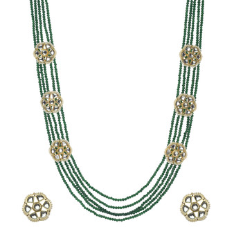 Runjhun Jewellery Green Multi-Layered Long Semi Precious Beads 18 Carat Gold Plated Designer Traditional Beads Layered Necklace for Women Girls