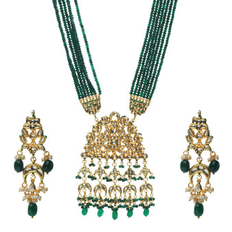 Runjhun Jewellery Kundan Long Green Semi Precious Beads 18 Carat Gold Plated Royal Designer Ethnic Traditional Pearl Necklace for Women | Girls