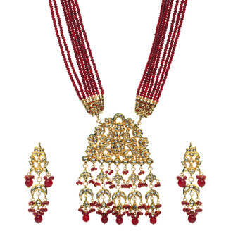 Runjhun Jewellery Kundan Long Maroon Semi Precious Beads 18 Carat Gold Plated Royal Designer Ethnic Traditional Pearl Necklace for Women Girls