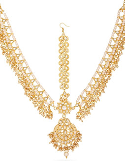 Runjhun Jewellery Kundan Pearls Royal Designer Traditional Maangtikka