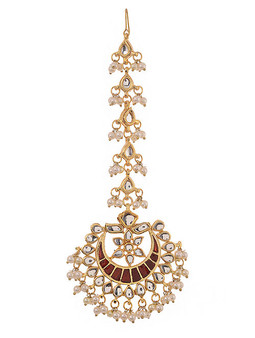 Runjhun Jewellery Kundan Pearls Royal Designer Ethnic Traditional Maangtika for women and girls