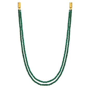 Runjhun Jewellery Onex 2 Line Green Designer Ethnic Traditional Semi Precious Stones Necklace for Women