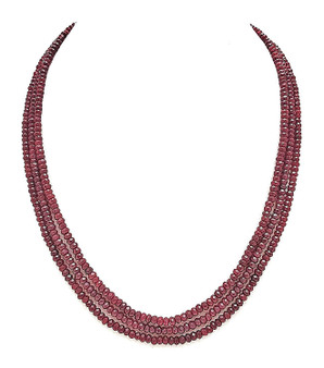 Runjhun Jewellery Onex Three Layered Royal Maroon Designer Ethnic Traditional Semi Precious Stones Necklace