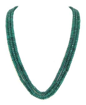 Runjhun Jewellery Onex Three Layered Dark Green Designer Ethnic Traditional Semi Precious Stones Necklace