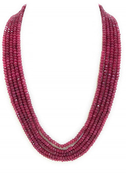 Runjhun Jewellery Semi Precious Onex Five Line Royal Ruby Designer Ethnic Traditional Semi Precious Stones Necklace