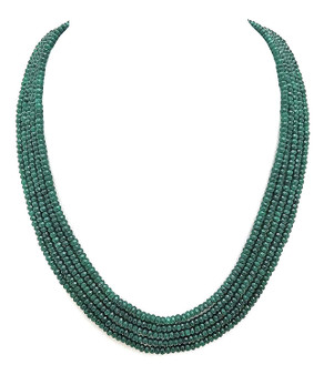 Runjhun Jewellery Onex Five Layered Green Semi Precious Beads Royal Designer Ethnic Traditional Necklace for Women