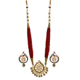 Runjhun Jewellery Ethnic Peacock Designer Ruby Onex Jaipuri Traditional Pendant Necklace Set