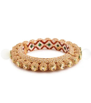 Runjhun Jewellery 22-Carat Gold Plated Traditional Jaipuri Kada Bangles for Women