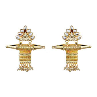 Runjhun Jewellery Pearl Golden Amrapali Gold plated Elegant Designer Ethnic Traditional Bollywood Danglers Women Girls
