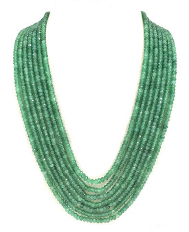 Runjhun Jewellery 7-Layered Onex Beads Gemstone Light Green Semi Precious Stone Ethnic Traditional Necklace for Women