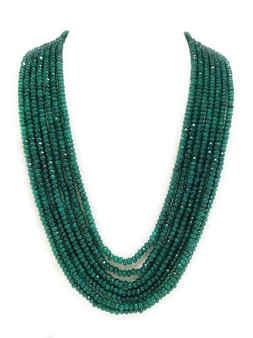 Runjhun Jewellery 7-Layered Onex Beads Gemstone Emrald Green Semi Precious Stone Ethnic Traditional Necklace for Women