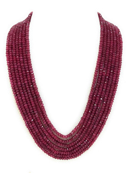 Runjhun Jewellery Maroon 7-Layered Onex Beads Gemstone  Semi Precious Stone Ethnic Traditional Necklace for Women