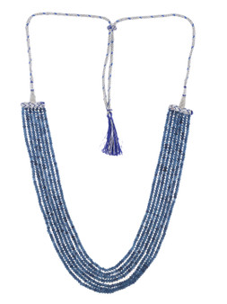 Runjhun Jewellery Blue 7-Layered Onex Beads Gemstone  Semi Precious Stone Ethnic Traditional Necklace for Women