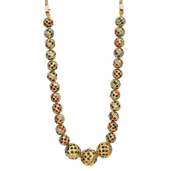 Runjhun Jewellery Multicolour Gold-plated Jaipuri Beads Ethnic Traditional Fashion Necklace for Women and Girls