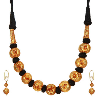 Runjhun Jewellery Golden Beads Royal Designer Southern Necklace for Women Girls