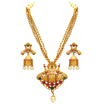 Runjhun Jewellery Designer Southern Golden Beads Royal Traditional Necklace