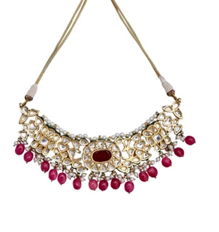 Runjhun Jewellery Ruby Kundan Royal Semi Precious Beads 18 Carat Gold Plated Designer Exclusive Choker Necklace for Women Girls