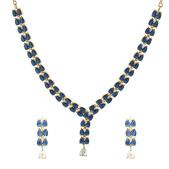 Runjhun Jewellery AD Blue Stone Royal Designer Necklace