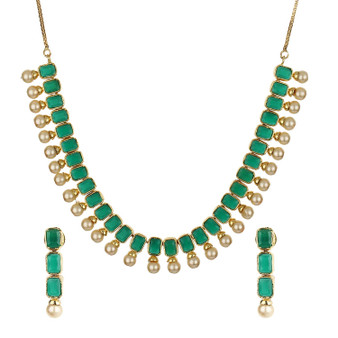 Runjhun Jewellery AD Green Stone Royal Designer Necklace