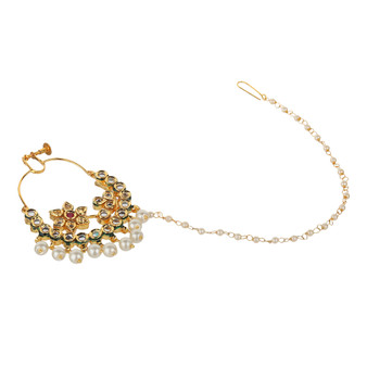 Runjhun Jewellery Mastani Kundan Stones Spring Nosering with Pearl String for Women
