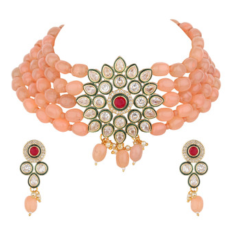 Runjhun Jewellery Peach Color Uncut Stones Trendy Choker Necklace for Women Girls