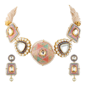 Runjhun Jewellery Semi Precious Stones Kundan Choker Necklace for Women Girls